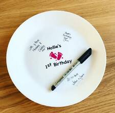 Personalised Babys 1st Birthday Guestbook Signature Plate Keepsake Boy Girl Gift