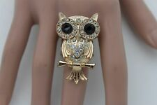 Women Gold Metal Ring Fashion Jewelry Elastic Band Owl Bird Silver Beads Animal