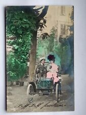 Old car innamorati lovers old postcard AK vecchia cartolina  auto automobile