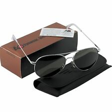 AO American Optical Military Aviator Silver Frames 58 mm Sunglasses Gray Lens