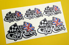 CAFE RACER Chequered Flag UNION JACK logo tank & Helmet set stickers SILVER
