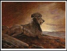 IRISH WOLFHOUND DOG ON A HILLSIDE AT DAWN LOVELY DOG PRINT POSTER