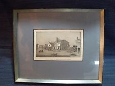 ANTIQUE BOSTON, MASS. 'THE OLD FEATHER STORE' BLOCK PRINT,PRO FRAMED AND MATTED