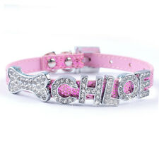 Personalized Small Dog Puppy Cat Collar Customized Rhinestones Free Name & Charm