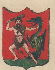 1865 Stemma di Monterchi (araldica civica), Arezzo litografia acquarellata