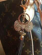 New Large Bow Dangle Crystal Purse Bag Charm Gold Bling Keychain