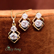 New 18k Gold Plated CZ Crystal Necklace Earrings Wedding Jewelry Sets For Women