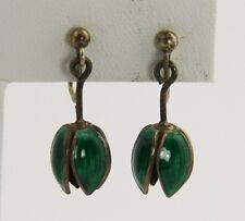 IVAR HOLT Jewelry NORWEGIAN NORWAY GUILLOCHE ENAMEL SILVER TULIP DANGLE EARRINGS