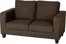 2 Seater Sofa Small Dark Brown Fabric Settee Living Room Guest Room Seating