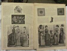 MODE ILLUSTRE année 1882 Couture Robe chapeau dentelle etc