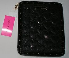 NWT $68 black BETSEY JOHNSON tablet e-reader case SEQUINS & HEARTS kindle NEW