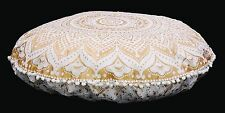 Gold Ombre Mandala Round Floor Cushion Pillow Seating Cover Indian Tapestry Boho