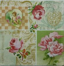 VINTAGE ROSE COLLAGE  2 single LUNCH SIZE  paper napkins for decoupage 3-ply
