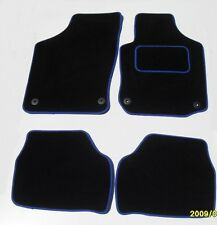 VW GOLF MK4 1997-2004 BLACK PREMIER CAR FLOOR MATS / BLUE EDGING / 4 OVAL CLIPS