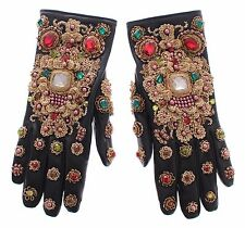 NWT $3700 DOLCE & GABBANA Black Leather Gold Crystal Baroque Wrist Gloves 7.5/ M