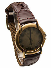 ANTIQUE WOMENS' BRAIDED LEATHER BAND,ROUND CASE, ANTIQUE DIAL ANALOG WATCH