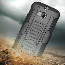 RUGGED HYBRID IMPACT ARMOR HARD CASE SHOCKPROOF COVER HOLSTER FOR HTC ONE 2 M8