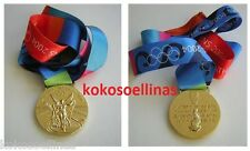 2004 Athens Olympic Games, gold winner medal with ribbon, collectible replica