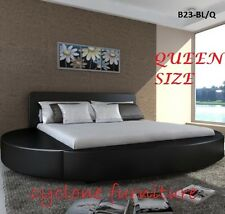 ITALIAN DESIGN QUEEN SIZE ROUND BLACK PU LEATHER BED FRAME