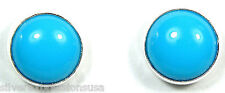 Handmade 8mm Round Sleeping Beauty Turquoise 925 Sterling Silver Stud Earrings
