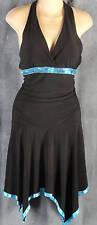 Taboo Junior Medium Black Halter Dress Turquoise Sequins