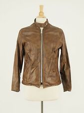 1970s SCHOTT Vintage Brown Leather Motorcycle Racer Jacket 12 - Medium Small