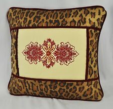 Embroidered Floral Pillow made w Cream Tapestry & Venetian Leopard velvet cord