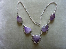 GORGEOUS HANDCRAFTED SILVER & LILAC AMETHYST NECKLACE/ 925