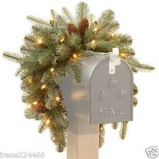 """36"""" Frosted Arctic Spruce Mailbox Swag Warm White LED Lights Timer Battery NEW"""
