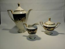 Echt Cobalt Bavaria Waldershaf Germany Handerbeit 22 kt Gold Teapot Cream Sugar
