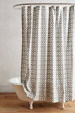 NWT Anthropologie Geo-Block Shower Curtain Fabric Cotton Gray Silver Decor Bath