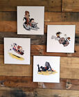 """Calvin and Hobbes Style Star Wars Rey BB-8 4 Prints Mounted 8 x 8"""" Each"""