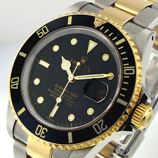 ROLEX BLACK SUBMARINER 16613 SUBMARINER STEEL 18K YELLOW GOLD TWO TONE