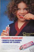 PUBLICITÉ 1980 DENTIFRICE COLGATE FLUOR MFP DENTS PLUS DURES - ADVERTISING