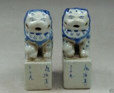 Collection a pair Fine Chinese Porcelain carved Lion stamp Statues