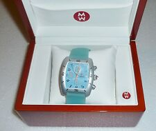 Michele URBAN Chronograph Watch BABY BLUE Face & Silicone Band Unisex Lg W/ Box!