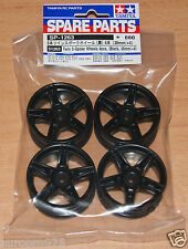 Tamiya 51263 Twin 5-Spoke Wheels 4 Pcs. (Black, 26mm/+4) (Ferrari FXX), NIP