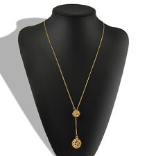 Fashion Womens Elegant Double Hollow Ball Pendant Long Chain Necklace Jewelry