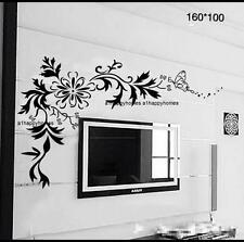 HUGE BLACK VINE Vinyl Flowers Butterfly Leaf Floral Wall Stickers Art Decal TV
