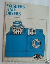Booklet For Washers And Dryers 1972 General Sevices Administration