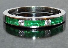 9CT WHITE GOLD  CHANNEL SET PRINCESS EMERALD .07CT DIAMOND ETERNITY RING  P