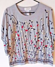 C.D. Petites Sweater Pullover Size PL Pussy Willow Print Spring Summer Fun
