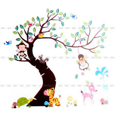 Animal Owl Monkey Jungle Zoo Wall Sticker Mural for Kids Baby Nursery Room Decor