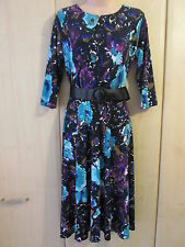 Womens Nina Leonard Blue Multi Belted Dress size SMALL  NEW / BN