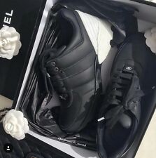 CHANEL 2016 LOGO BLACK WHITE LEATHER MESH SNEAKERS TENNIS SHOES TRAINERS SHOE 37