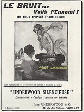 PUBLICITE UNDERWOOD MACHINE A ECRIRE SILENCIEUSE DE 1924 FRENCH AD PUB ART DECO