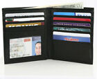 BLACK LEATHER Cowhide Leather Hipster Large Tall Men's Wallet Bifold Wallet 02