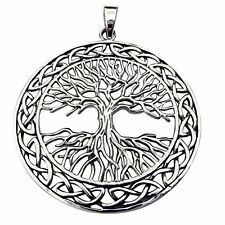 Sterling Silver  Tree Of Life In Celtic Circle Pendant With  Silver 925 Chain !!