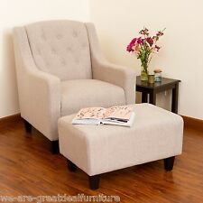 Living Room Furniture Light Beige Tufted Fabric Chair and Footstool Ottoman