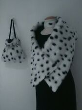Cruella De Ville 101 Dalmatian Shawl Bag Chocker Set Fancy dress Black Lining